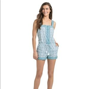 Vineyard Vines Embroidered Tiny Leaves Romper